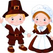Thanksgiving Day Pilgrim Couple — Stock Vector #7515051