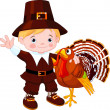 Stock Vector: Cute pilgrim and turkey