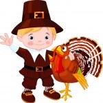 Cute pilgrim and turkey — Stock Vector