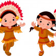 American Indians dancing — Stock Vector