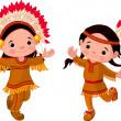 Amérindiens danse — Vecteur