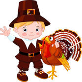 Cute pilgrim and turkey — Stock Vector