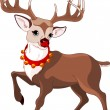 Stock Vector: Beautiful cartoon reindeer Rudolf