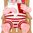 Stock Vector: SantClaus relaxing on beach