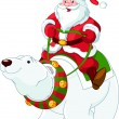 Santa Claus riding on polar bear - Stock Vector