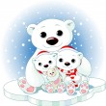 Christmas Polar bear family — Stock Vector