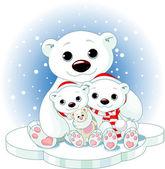 Boże narodzenie niedźwiedź polarny rodziny — Wektor stockowy