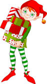 Christmas Elf with gifts — Stock Vector