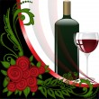 Wine on black and white background - Stock Vector