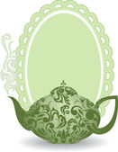 Green teapot — Stock Vector