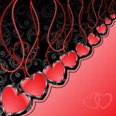 Black and red background with hearts — Stock Vector