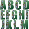 Green Alphabet with flowers - Stock Vector
