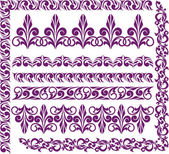 Set of purple ornaments — Stock Vector