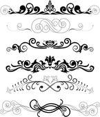 Set of black ornaments — Stock Vector