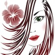 Girl with flower in her hair — Stock Vector #7242628