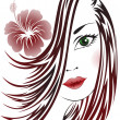 Girl with flower in her hair - Stock Vector