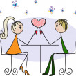Lovers in a cafe — Stock Vector