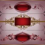 Set of burgundy frame — Stock Vector