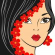 Girl with red flowers - Stock Vector
