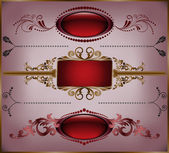 Set of burgundy frame — Stock Vector