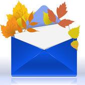 Envelop met herfst gebladerte — Vector de stock