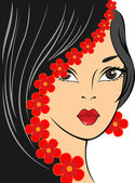 Girl with red flowers — Stock Vector