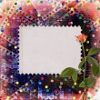 Stock Photo: Old papers and grunge filmstrip with beautiful roses
