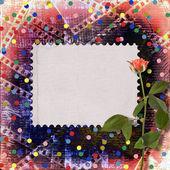 Gamla papper och grunge filmremsa med vackra rosor — Stockfoto