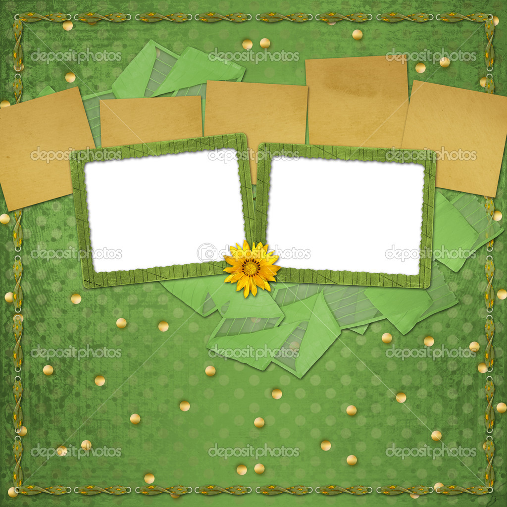Grunge papers design in scrapbooking style with frame and bunch of flowers — Stock Photo #6850289