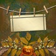 Stock Photo: Grunge papers design in scrapbooking style with frame and autumn
