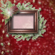 Abstract star background with wooden frame and bunch of twigs Ch - Stock Photo