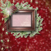 Abstract star background with wooden frame and bunch of twigs Ch — Stock Photo