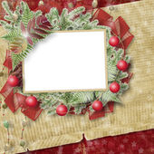 Abstract star background with paper frame and bunch of twigs Chr — Stock Photo