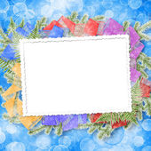 Abstract blur boke background with paper frame and bunch of twig — ストック写真