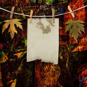 Grunge papers design in scrapbooking style with foliage — Stock Photo