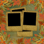 Bright autumn leaves on the abstract with paper frame — Stock Photo