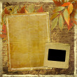 Grunge papers design in scrapbooking style with foliage and blan - Stock Photo