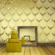 Royalty-Free Stock Photo: Present with bow in the old room with the remains former luxury