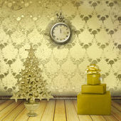 Christmas tree in the old room with clocks — Stock Photo