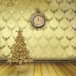 Christmas tree in the old room with clocks — Foto Stock
