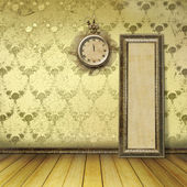 Antique clock face with lace on the wall in the room — Foto Stock