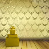 Present with bow in the old room with the remains former luxury — Stock Photo