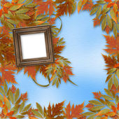 Bright autumn leaves on the abstract background with wooden fram — Stock Photo