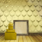 Wooden frames and present in the old room with the remains forme — Stock Photo