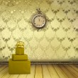 Antique clock and boxes of gifts in the old room with the remain — Stock Photo