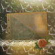 Stock fotografie: Card for congratulation or invitation with red rose and hearts