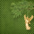 Stock Photo: Angel christmas hanging on pine branch.