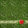 Card for congratulation or invitation with red rose and hearts — 图库照片