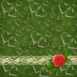 Card for congratulation or invitation with red rose and hearts — Stockfoto