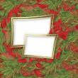 Christmas greeting card with branches of spruce and ribbons - Foto Stock